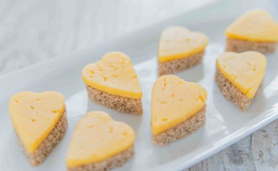 Heart Shaped Cheese Sandwiches