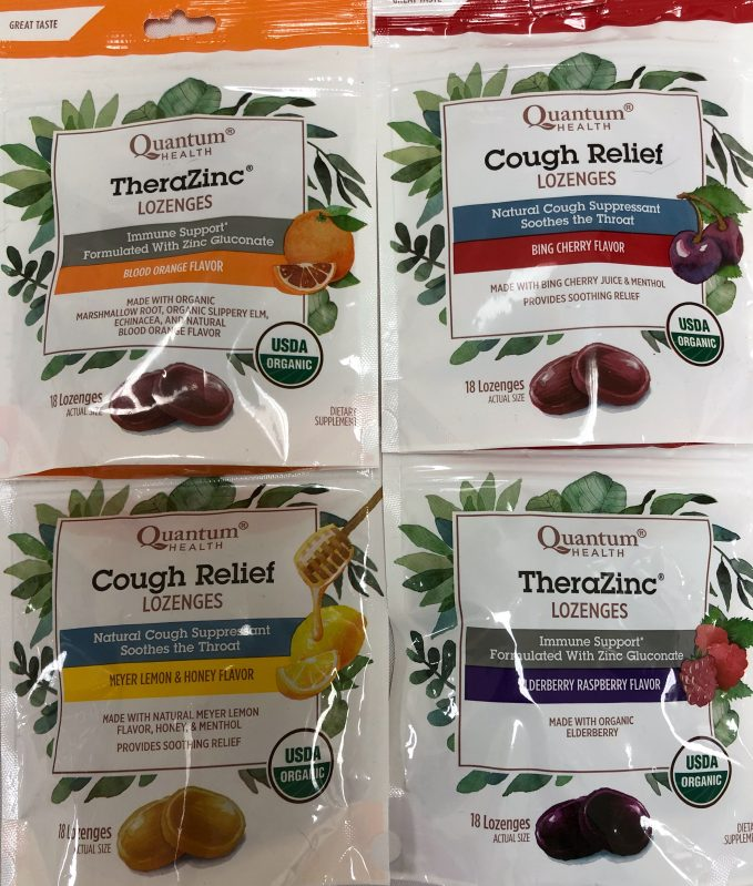 Quantum Health organic cough drops to help you feel better if you have the flu
