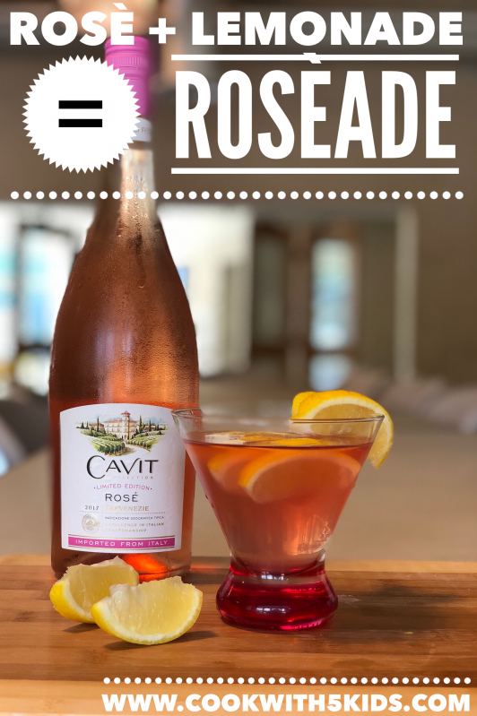 Roséade made with Cavit Rosé wine and Lemonade