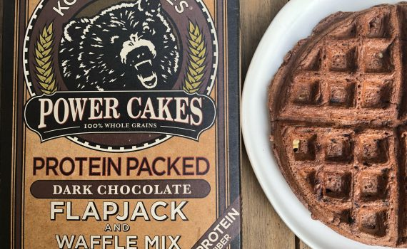 Rocky road waffles made with Kodiak Cakes waffle mix