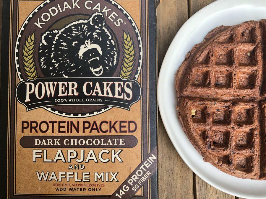 Rocky road waffles made with Kodiak Cakes waffle mix