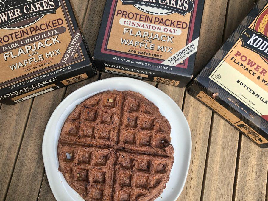 rocky road waffles made with Kodiak cakes flapjack mix