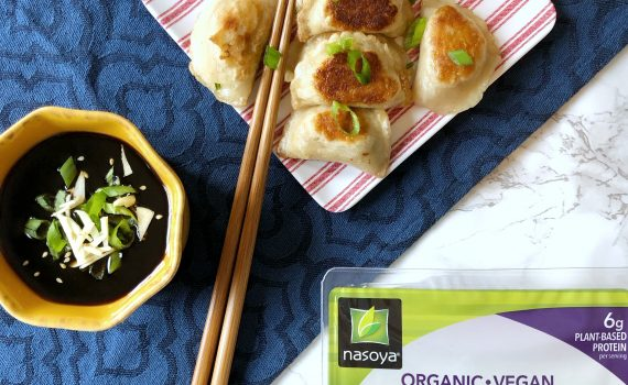 5 minute dinner, vegan, organic and delicious dumplings and dipping sauce