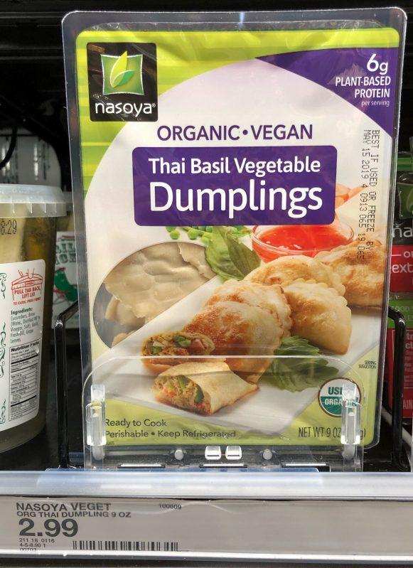 Nasoya organic vegan dumplings can be found at Target