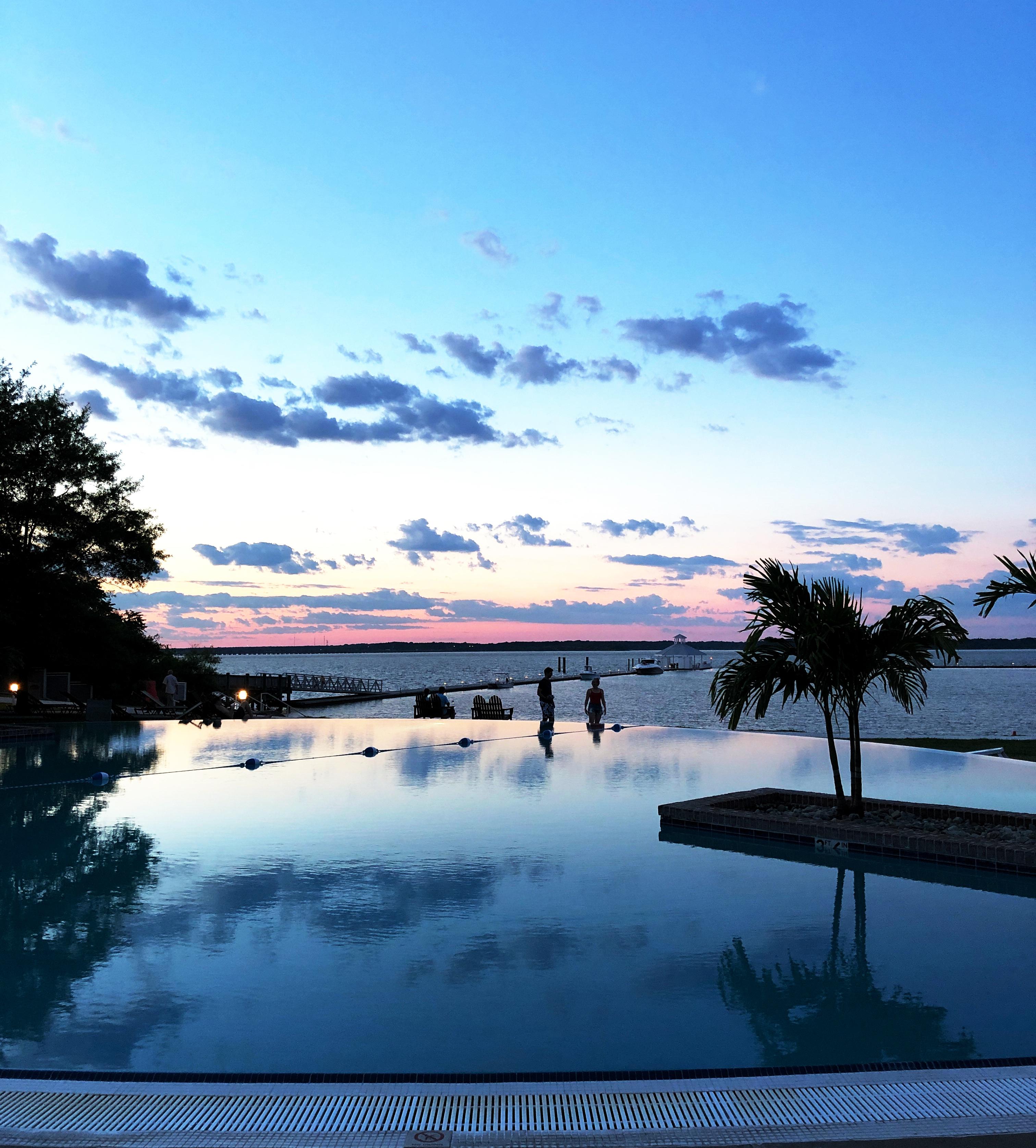 Sunset at the infinity pool at the Hyatt Regency Chesapeake Bay