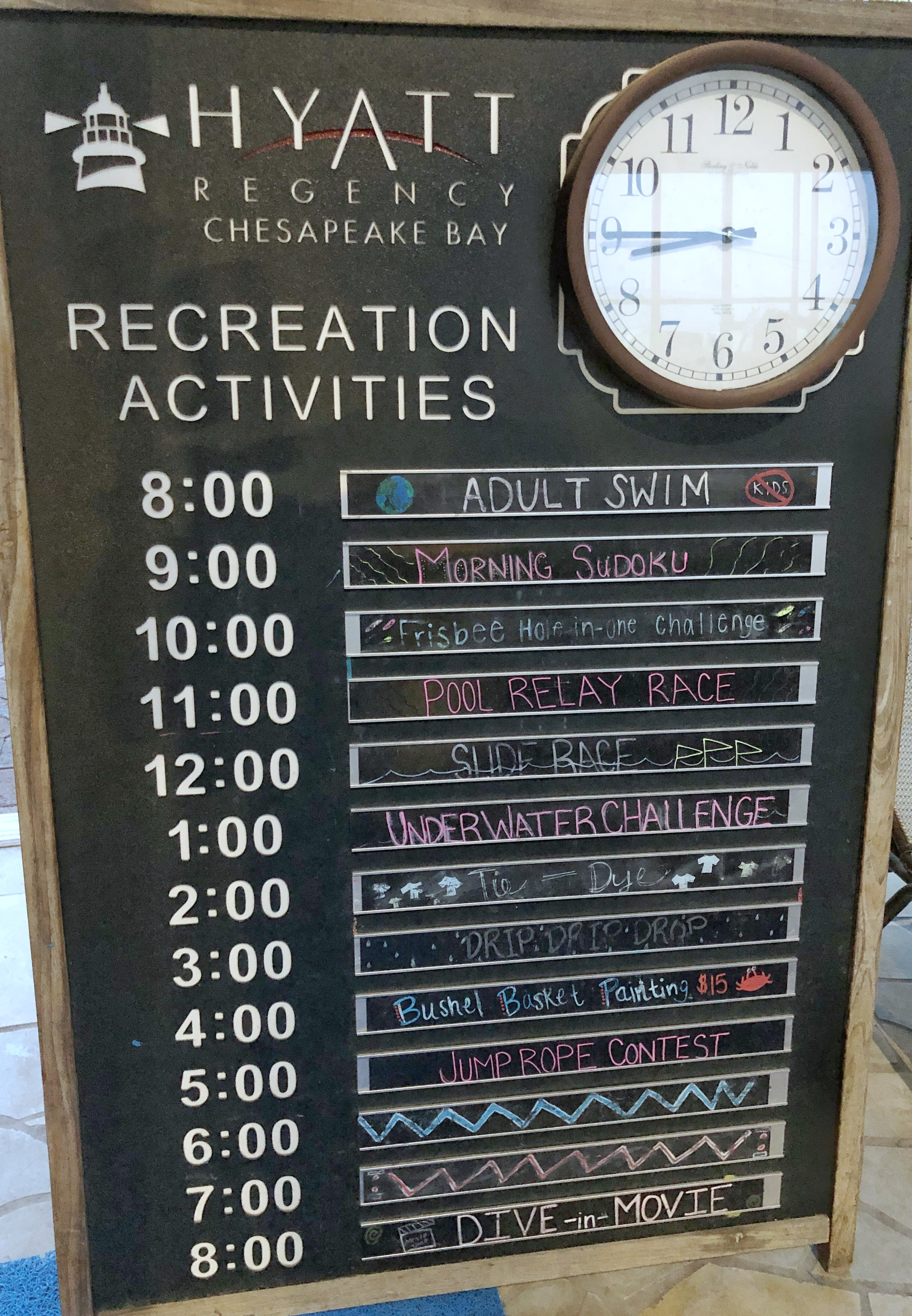 activity board of free activities at the Hyatt Chesapeake