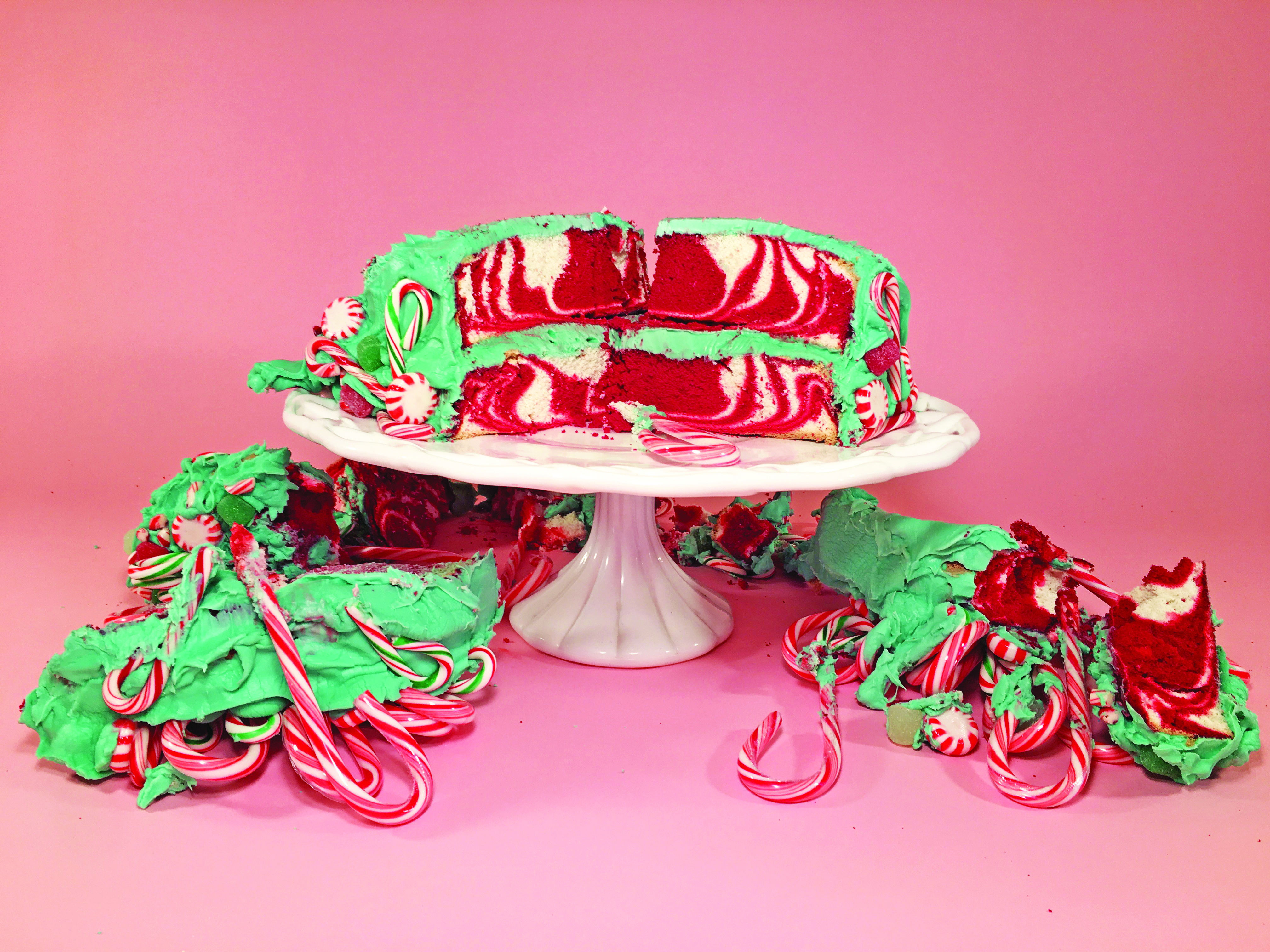 Inside the candy cane cake