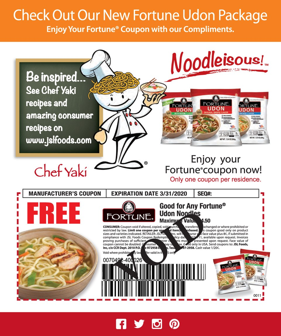 udon noodle sample coupon
