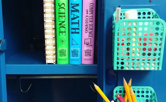 locker with summer workbooks