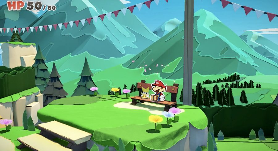 resting on a bench in paper mario improves your health