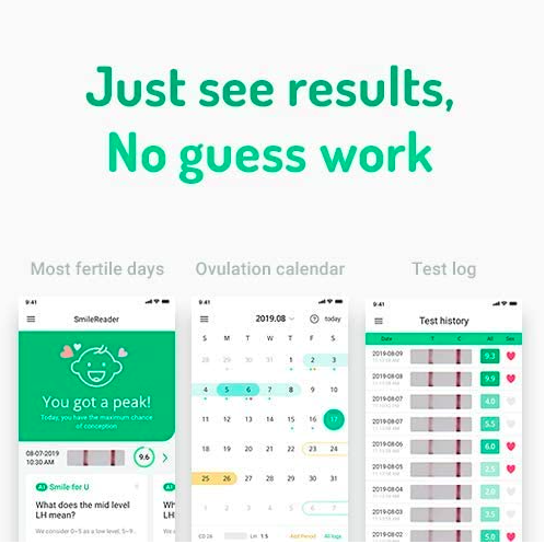 smile reader ovulation predictor results screen