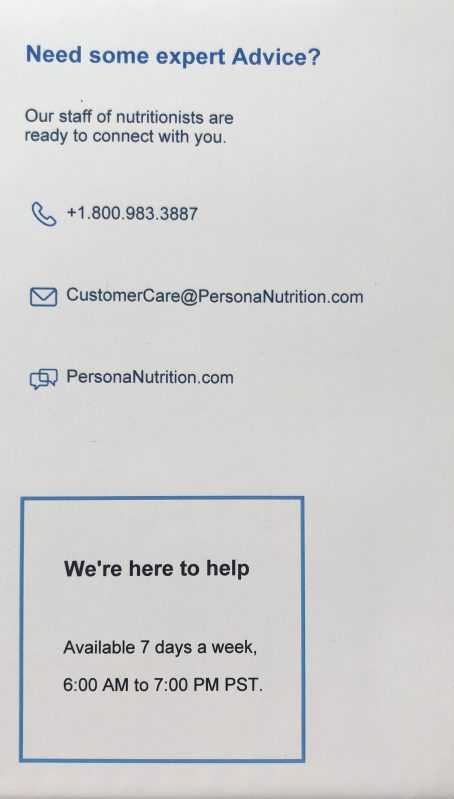 persona vitamins contact information