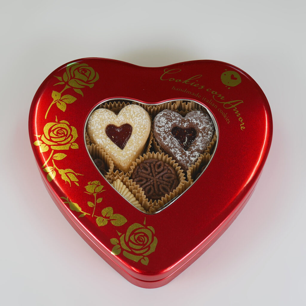 red heart cookie tin