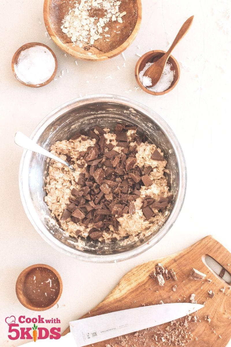bowl of ingredients for vegan breakfast cookies