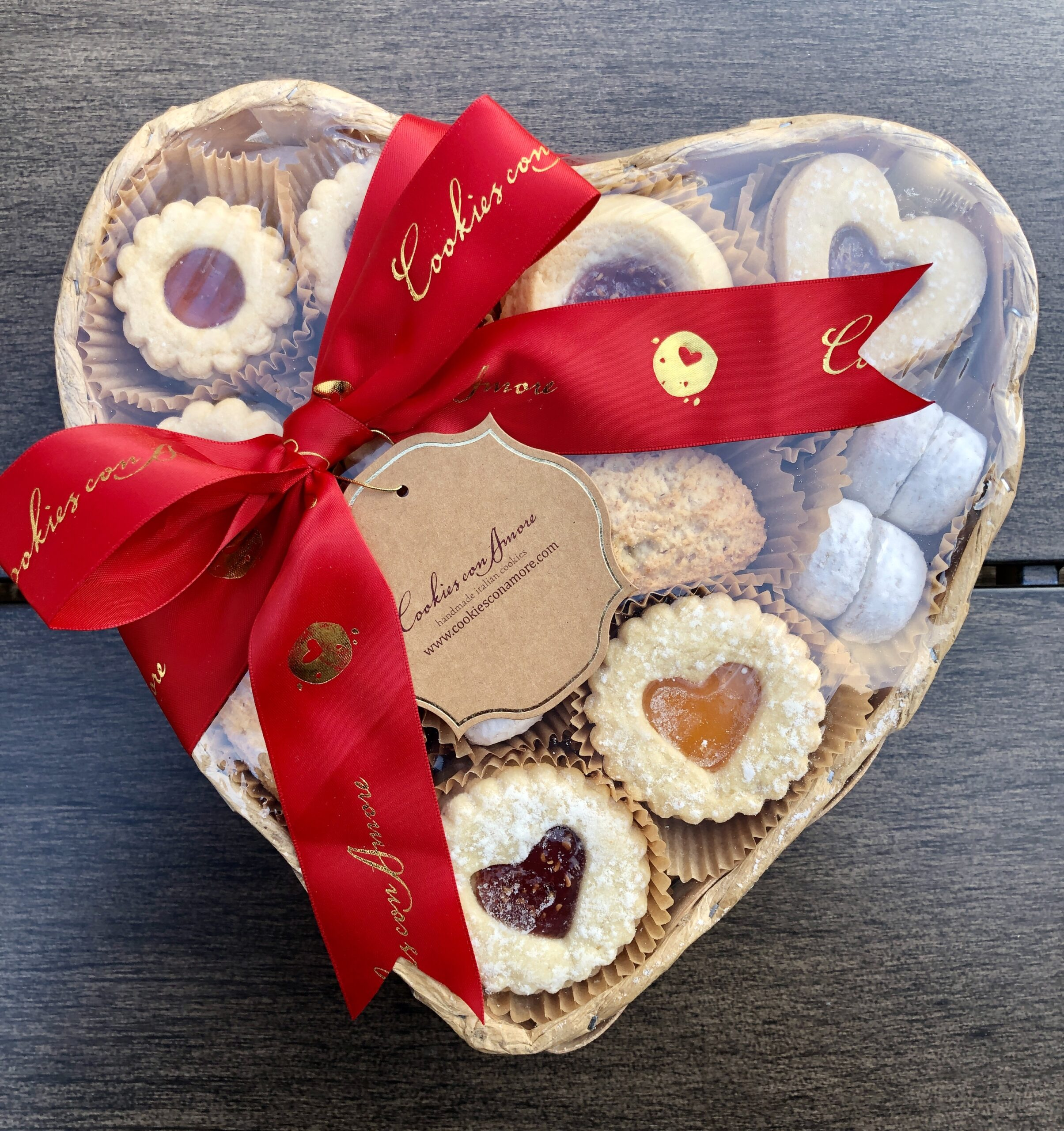 cookies con amore heart shaped basket