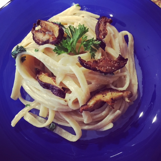 Fettuccine Alfredo with Shiitake bacon