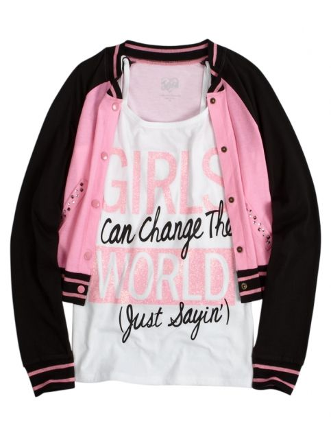 shop justice girls change the world shirt