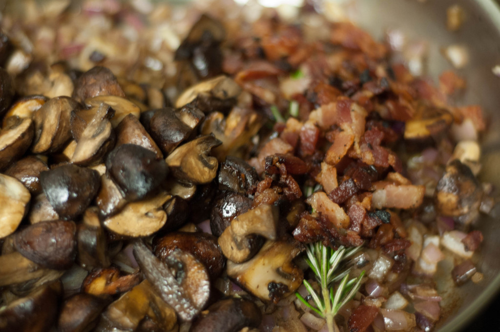 bacon and mushroom soup ingredients in pan closer