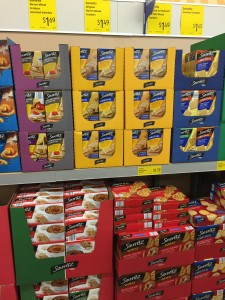 shelves at Aldi, items are displayed in boxes