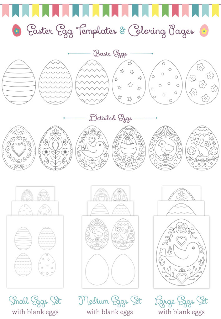 Easter egg templates and coloring pages