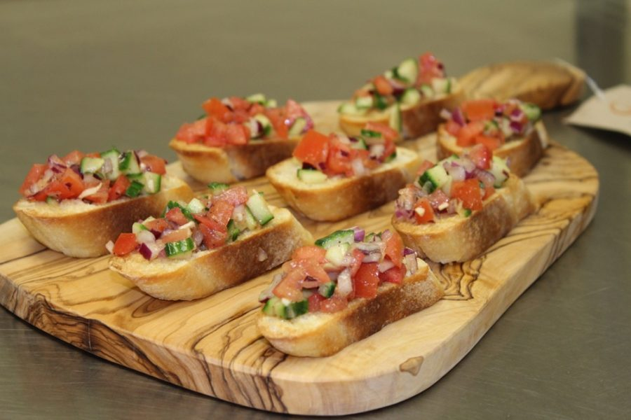 cold bruschetta on a Heart of Haiti board at Macy's online