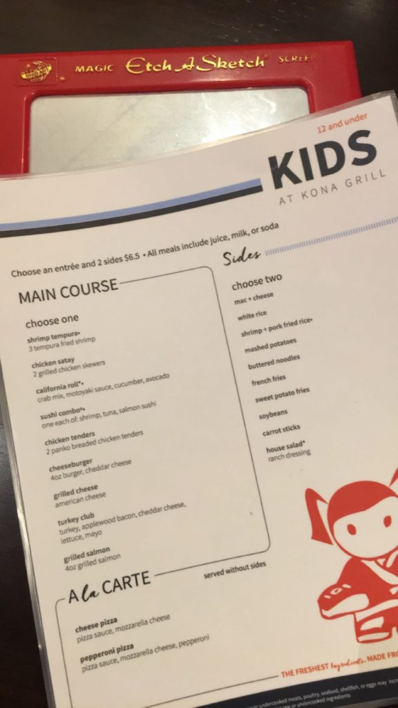 Kids Menu and Etch Sketch at Kona Grill in Fairfax. Full review at www.cookwith5kids.com