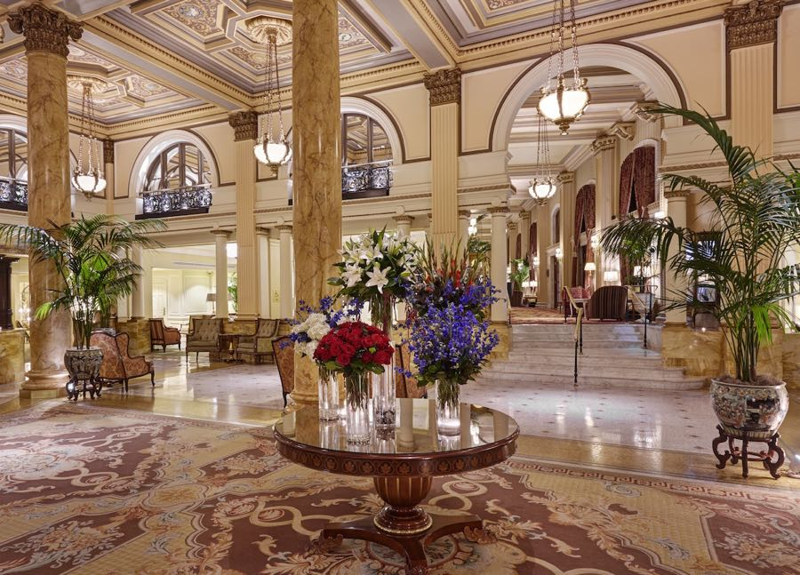 Lobby at the Willard Hotel, full review at www.cookwith5kids.com