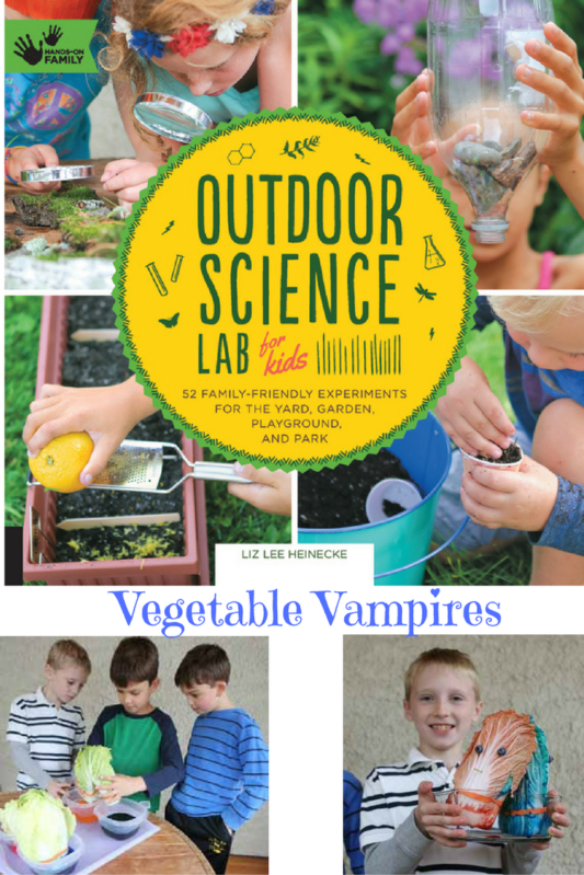 Outdoor Science Lab Halloween Experiment at www.cookwith5kids.com