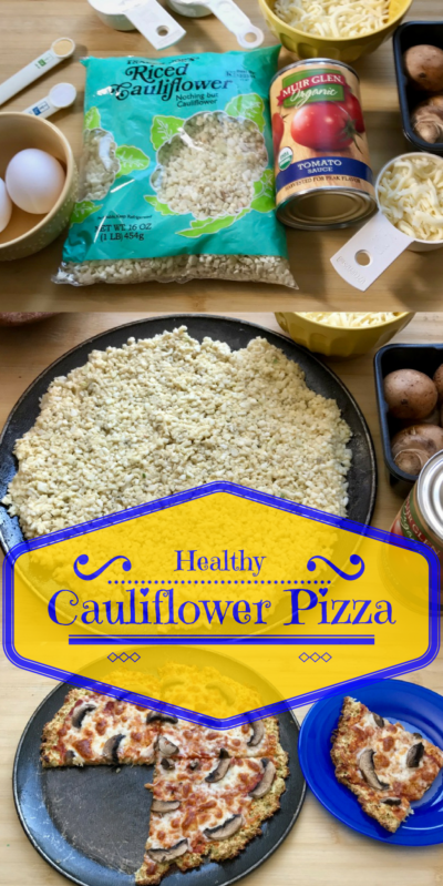 Healthy Cauliflower Pizza full recipe at www.cookwith5kids.com