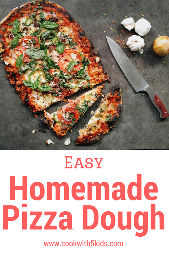 Homemade pizza dough- Easy dinner ideas via Cookwith5kids @cookwith5kids mom blog