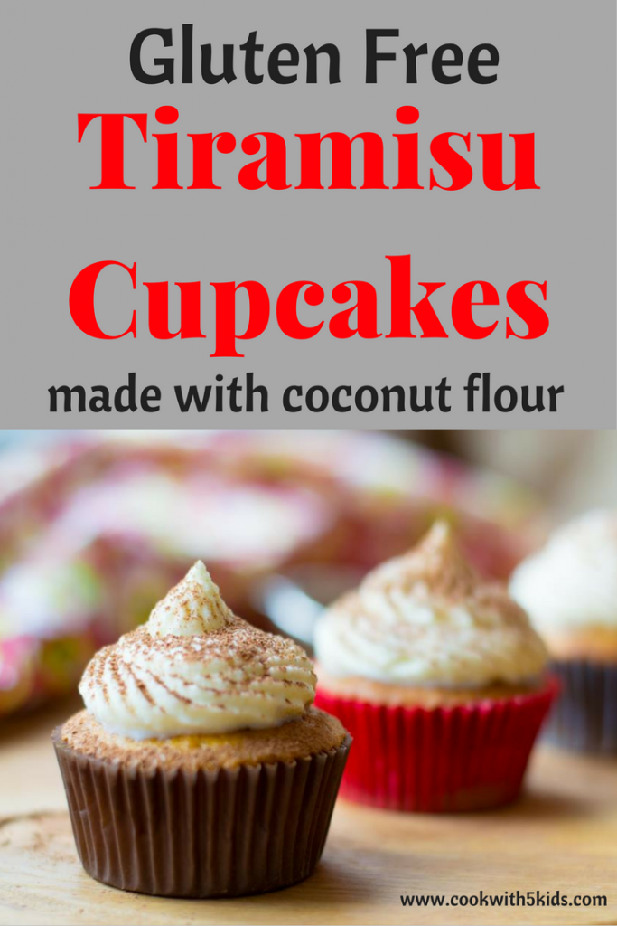 Tiramisu cupcakes gluten free made with coconut flour via Cookwith5kids @cookwith5kids mom blog