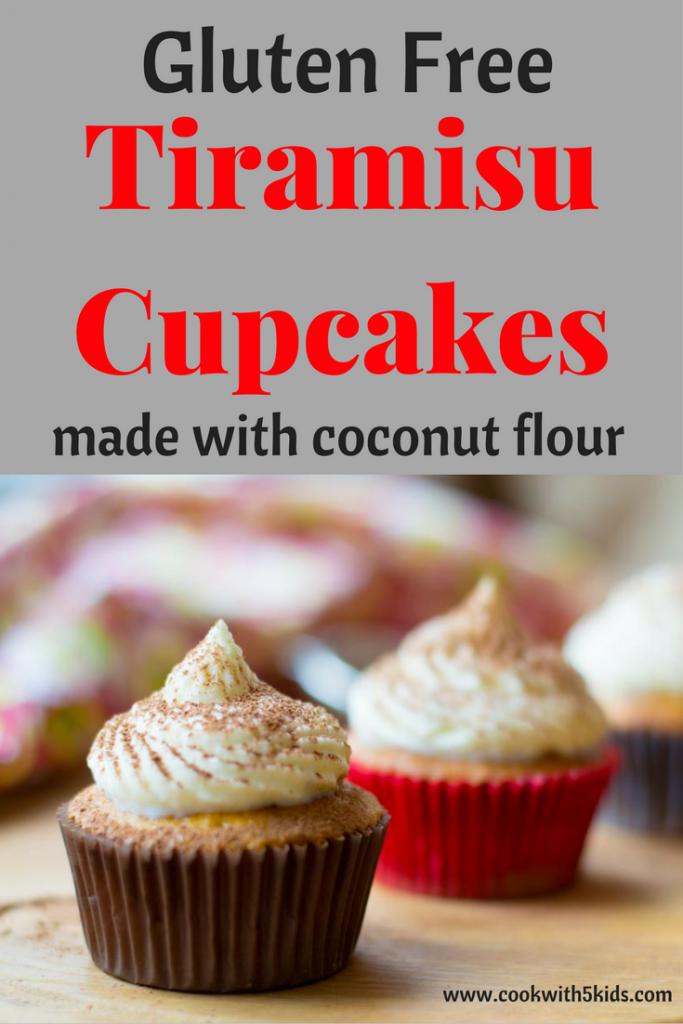 Tiramisu cupcakes gluten free made with coconut flour via Cookwith5kids @cookwith5kids mom blog