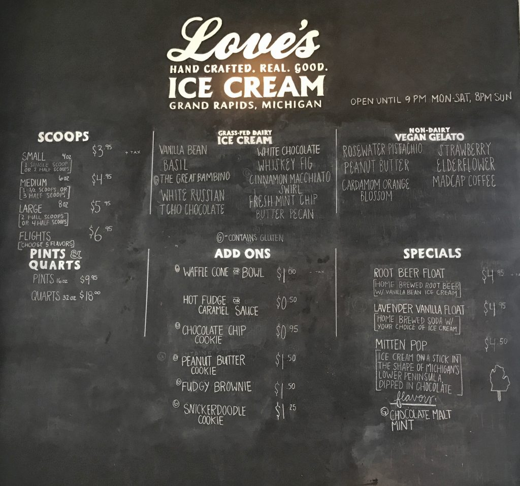 Love's Ice Cream in Grand Rapids, Michigan part of the Where to Eat in Grand Rapids roundup