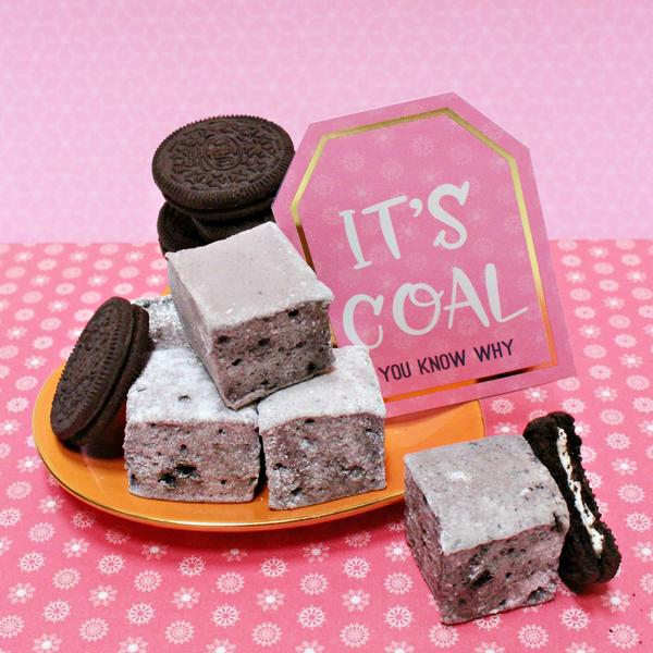 XOMarshmallows coal marshmallows are a delicious way to give coal in the stocking