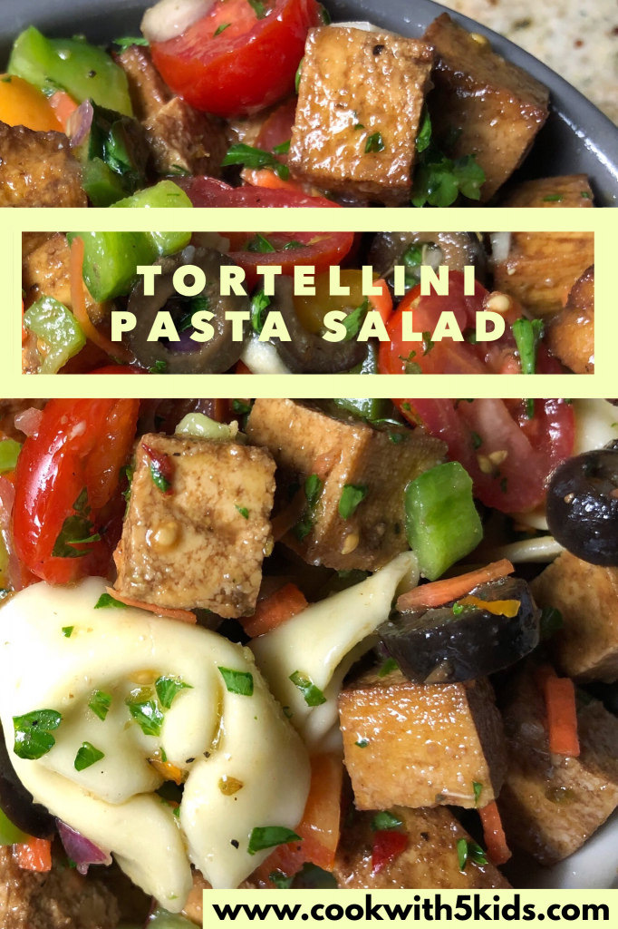 Pasta Salad Recipes- Tofu Recipes- Tortellini Pasta Salad Via Sara LaFountain, blogger www.cookwith5kids.com @cookwith5kids Healthy food recipes and family meal ideas