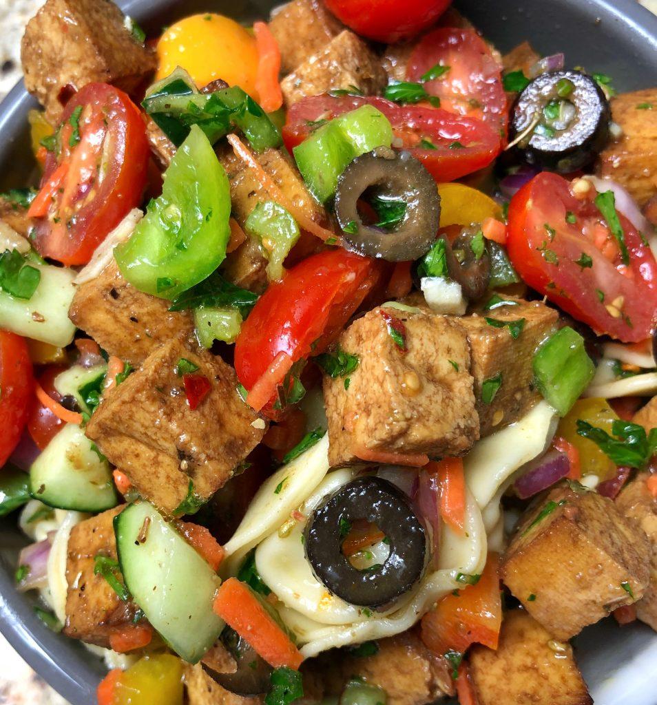 Tortellini pasta salad recipe with tofu