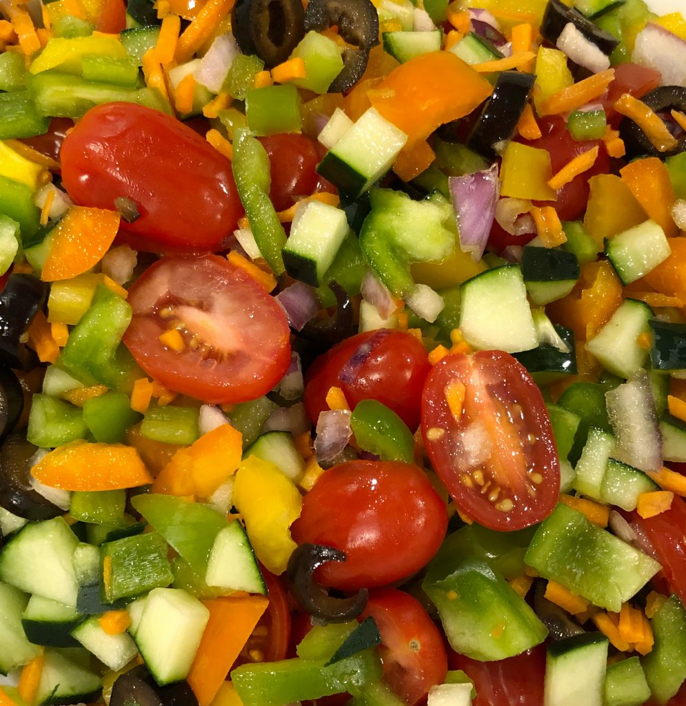 Chop your vegetables and prepare them for your pasta salad recipes