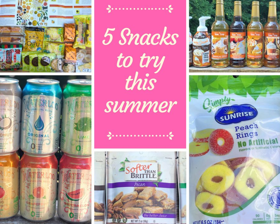 5 snacks to try this summer including Waterloo Waters, Bokksu Japanese Box, Jordan's Skinny MIxes, Softer than Brittle and Simply Sunrise healthier candies