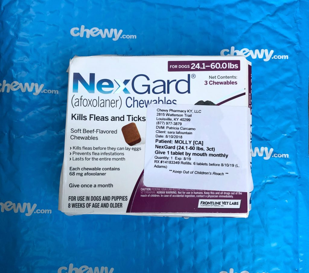 Chewy Pharmacy online pet medication and pet care Nexgard for flea and ticks for dogs