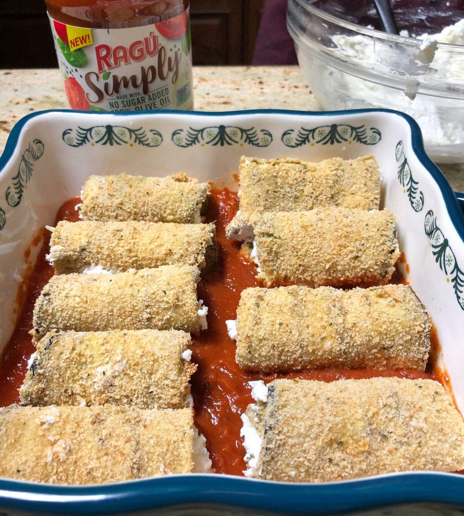 eggplant rollatini, easy and healthy eggplant dish ready to bake.