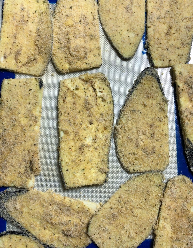 Dredge eggplant slices in egg, flour, and panko bread crumbs and then bake until crispy, easy and healthy eggplant rollatini