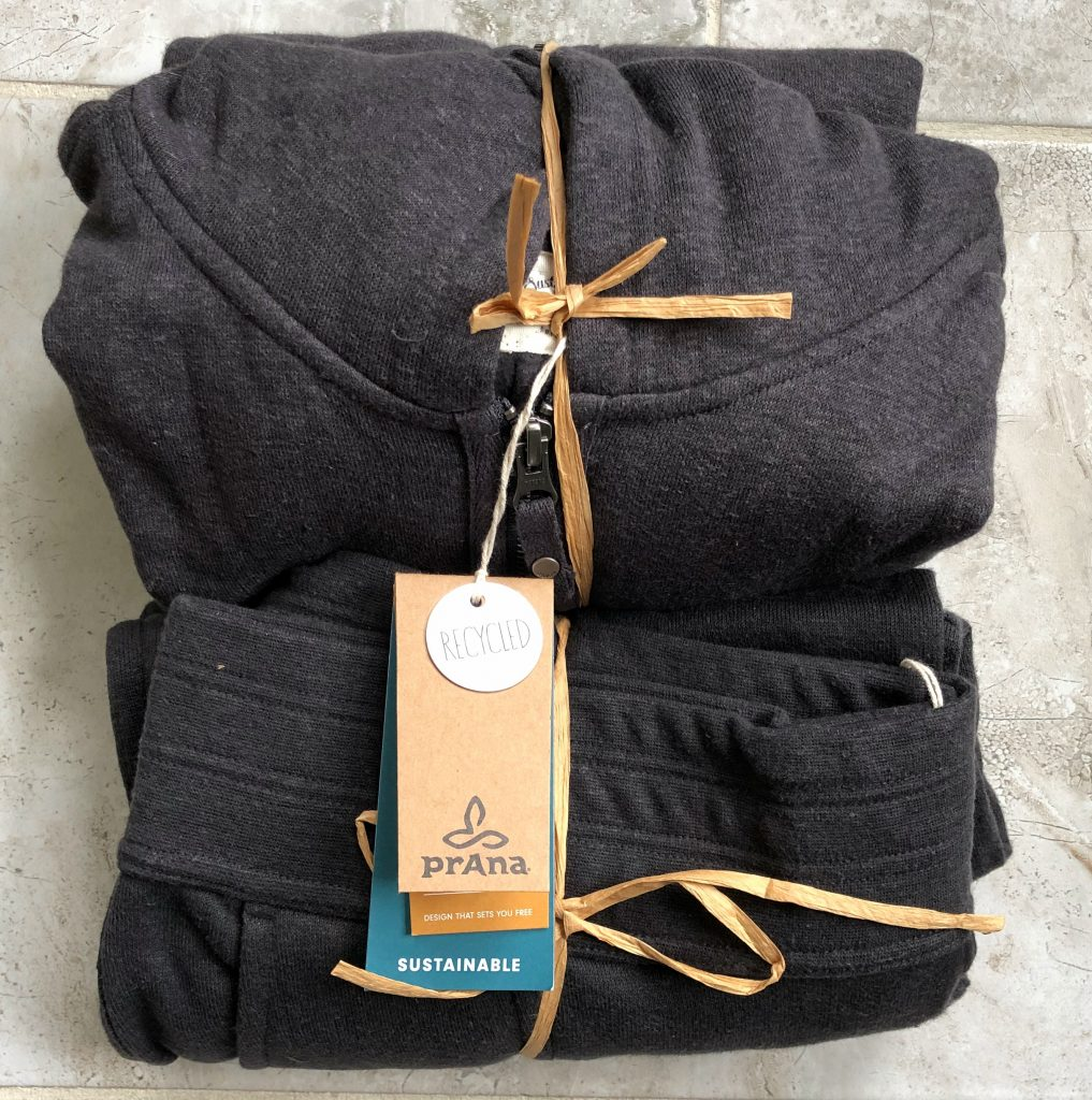 prAna hemp sweatsuit. Sweatshirt and jacket and sweatpants made from hemp