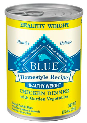 Blue Buffalo Homestyle Recipe Healthy Weight Chicken Dinner with Garden Vegetables & Brown Rice Canned Dog Food available at Chewy.com