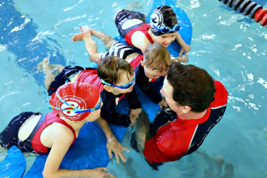 Kids swim class at Tom Dolan Swim School for babies, kids, and adults opens the second location in Northern Virginia.