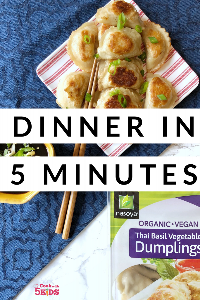 organic and vegan tofu dumplings with dipping sauce, easy dinner ready in 5 minutes
