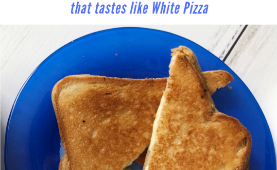 Gluten free grilled cheese with the flavors of a white pizza