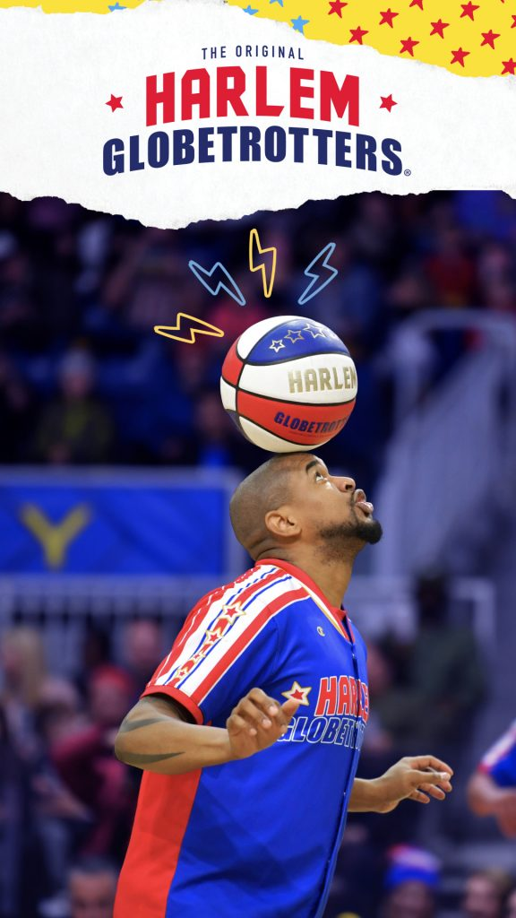 harlem globetrotters balancing ball on the head