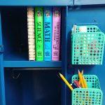 locker with summer workbooks