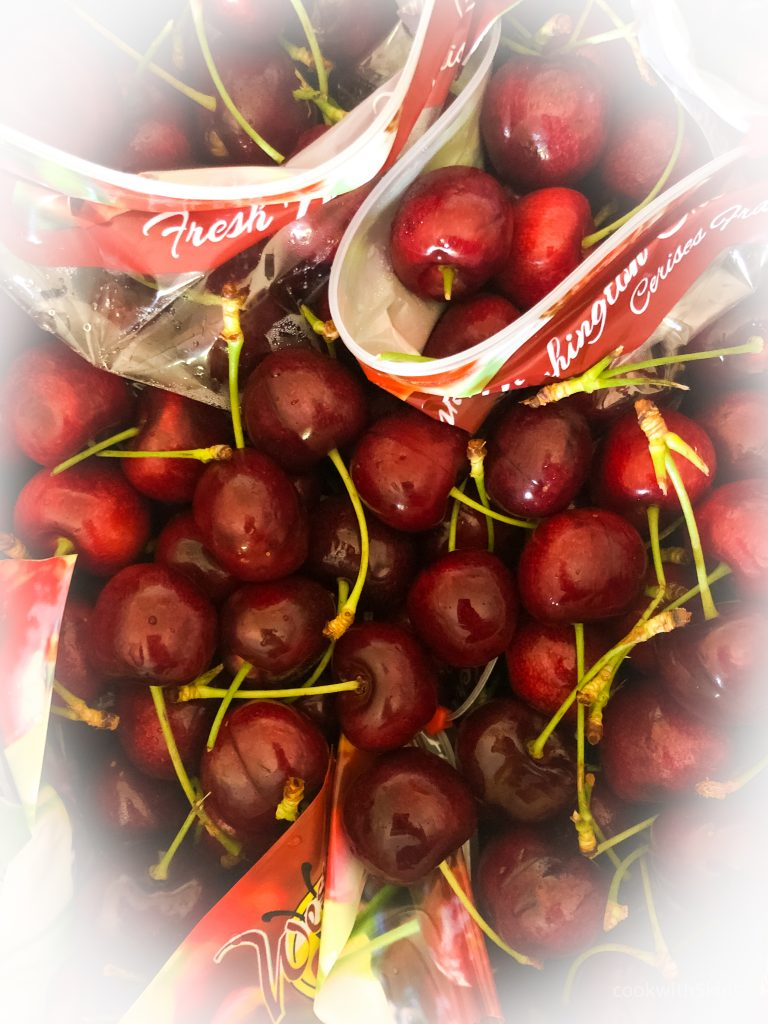 bags of fresh cherries