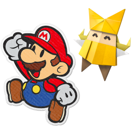 mario and olivia from paper mario the origami king game